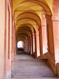 Bologna. The arcade to the St Luca basilica in Bologna in Italy Stock Images