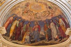Bologna - affresco in abside principale dei DOM - chiesa di barocco di St Peters. Cristo fornisce la chiave simbolica Fotografie Stock Libere da Diritti