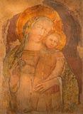 Bologna - affresco di Madonna da St Stephen romanico o dalle chiese di Santo Stefano complesse Fotografia Stock