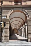 Bologna arcades. Beautiful renovated arcade on Via Castiglione in Bologna, Italy Stock Photography