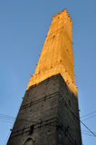 Bologna Asinellis tower. View from bottom at sunset Royalty Free Stock Photo