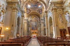 Bologna - barockes Kirche Chiesa-Corpus Christi. Lizenzfreie Stockbilder