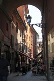 Via Clavature street in Bologna, Italy. Bologna is the capital and largest city of the Emilia-Romagna Region in Northern Italy Royalty Free Stock Image
