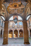 Bologna - Ceiling and atrium from the entry to external atrium of Archiginnasio. Stock Images