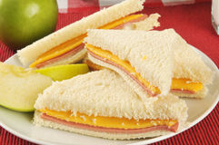 Bologna and cheese sandwich Royalty Free Stock Image