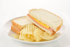 Bologna and cheese sandwich Stock Photography
