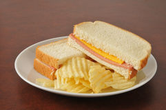 Bologna and cheese sandwich Royalty Free Stock Photography