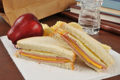 Bologna and cheese sandwich sack lunch Stock Photos