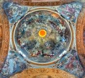 Bologna - Chiesa di San Paolo baroque church. BOLOGNA, ITALY - MARCH 16, 2014: Fresco in cupola of Saint Paul or Chiesa di San Paolo baroque church from 17. cent royalty free stock photography