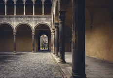 Bologna city courtyard. Image of a courtyard in the city of Bologna, Italy Stock Photo