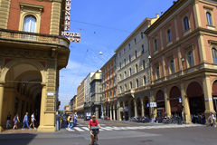 Bologna city Italy. Street view of Bologna city center,Via dei Mille, Italy Royalty Free Stock Photos