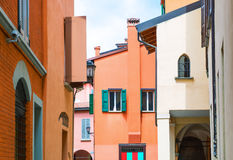 Bologna a city in Red color. Italy, Bologna, the typical architectures of the Ghetto district Stock Photo
