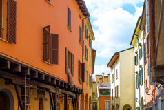 Bologna a city in Red color. Italy, Bologna, the typical architectures of the Ghetto district Royalty Free Stock Photos