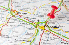 Bologna City On A Road Map Stock Photo