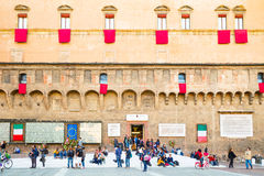 Bologna een stad in Rode kleur Stock Afbeeldingen