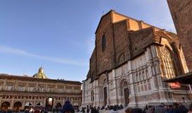 Bologna, Emilia Romagna, Italy. December 2018. Basilica of San Petronio stock photography