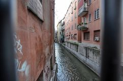 Bologna, Emilia Romagna, Italy. December 2018. A hidden part of the city reminiscent of Venice royalty free stock photo