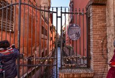 Bologna, Emilia Romagna, Italy. December 2018. A hidden part of the city reminiscent of Venice stock image