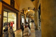 Bologna, Emilia Romagna, Italy. December 2018. The long porticos stock photos
