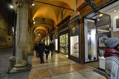 Bologna, Emilia Romagna, Italy. December 2018. The long porticos stock image