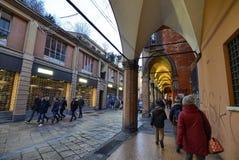 Bologna, Emilia Romagna, Italy. December 2018. The long porticos stock photography