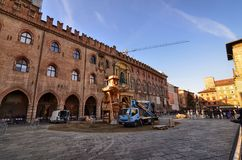 Bologna, Emilia Romagna, Italy. December 2018. Piazza Maggiore royalty free stock photos