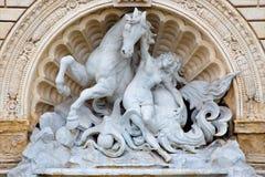 Bologna - Fontana della Ninfa e Del Cavallo Marino - fontanna boginka i Seahorse Obraz Stock