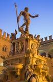 Bologna - Fontana di Nettuno or Neptune fountain on Piazza Maggiore square. In dusk stock photography