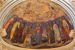 Bologna - Fresco in main apse of Dom - Saint Peters baroque church.Christ give the symbolic key Royalty Free Stock Photos