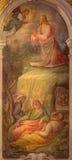 Bologna - Fresco of Prayer of Jesus in Gethsemane garden in baroque church San Michele in Bosco by Bartolomeo Ramenghi Stock Photo