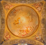 Bologna - Fresco in side cupola of Dom - Saint Peters baroque church by U. Bigari (1692 - 1776). Stock Image