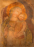 Bologna - Fresko van Madonna van romanic st Stephen of Santo Stefano-complexe kerken Stock Foto