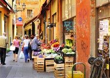 Bologna - fruit en groentenmarkt Royalty-vrije Stock Afbeeldingen