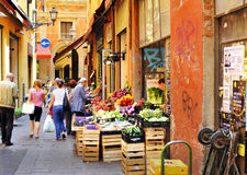Bologna - fruit and vegetables market. In Bologna center you can find streets with fresh farm products. Very colourful, nice smelling fruits and vegetables will Royalty Free Stock Images