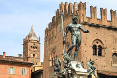 Bologna historic statue and city centre Stock Photos