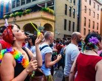 Bologna, Italië - 07 Juli 2018: Gaypride in de Straten van Bologna ` s Stock Foto