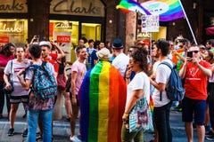 Bologna, Italië - 07 Juli 2018: Gaypride in de Straten van Bologna ` s Royalty-vrije Stock Afbeeldingen