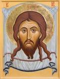 BOLOGNA, ITALIE - 18 AVRIL 2018 : L'icône du visage du Christ dans l'église Chiesa di San Pietro par le Sr Marina Chirico images libres de droits