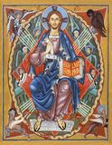 BOLOGNA ITALIEN - APRIL 18, 2018: Symbolen av Kristus på biskopsstolen av makten med symbolerna av fyra evangelister Royaltyfri Fotografi