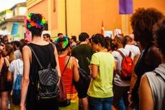 Bologna, Italien - 7. Juli 2018: Gaypride in Bologna ` s Straßen stockbild