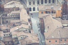 BOLOGNA, ITALIEN - 5. MÄRZ 2016: Allgemeine Ansicht des im Stadtzentrum gelegenen St. Stockbilder