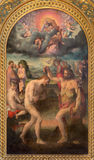 BOLOGNA, ITALIEN - 16. MÄRZ 2014: Die Malerei der Taufe von Christus in Kirche Chiesa Identifikation San Martino durch Prospero F Stockfotos