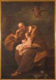 BOLOGNA ITALIEN - MARS 15, 2014: Målarfärgen av St Joseph i barockkyrkan Santa Maria della Vita Royaltyfri Bild