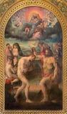 BOLOGNA ITALIEN - MARS 16, 2014: Målningen av dopet av Kristus i kyrkligt Chiesa ID San Martino av Prospero Fontana Arkivfoton