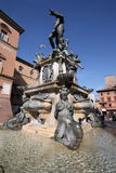 Bologna, Italy. Fountain of Neptune (Fontana di Nettuno) of Bologna, Italy. Bronze Mannerist monument Royalty Free Stock Photos