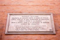 Bologna, Italy. Commemorative plaque of Italian Early Renaissance sculptor Niccolo dell`Arca in a house in Bologna, northern Italy Stock Photo