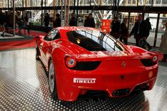BOLOGNA, ITALY - DECEMBER 2, 2010: Ferrari 458 Challenge exibited at the Bologna Motor Show. royalty free stock photos