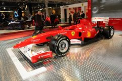 BOLOGNA, ITALY - 2 DECEMBER 2010: Ferrari Formula 1 F10 ex Fernando Alonso exhibited at the Bologna Motor Show. royalty free stock images