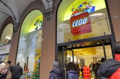 Bologna, Italy, December 2018. The Lego store in the historic center stock photo