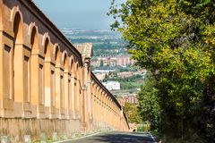 Bologna, Italy. Famous San Luca`s porch : the longest portico in the world. Bologna, Italy. Famous San Luca`s portico porch : the longest portico in the world Stock Photo
